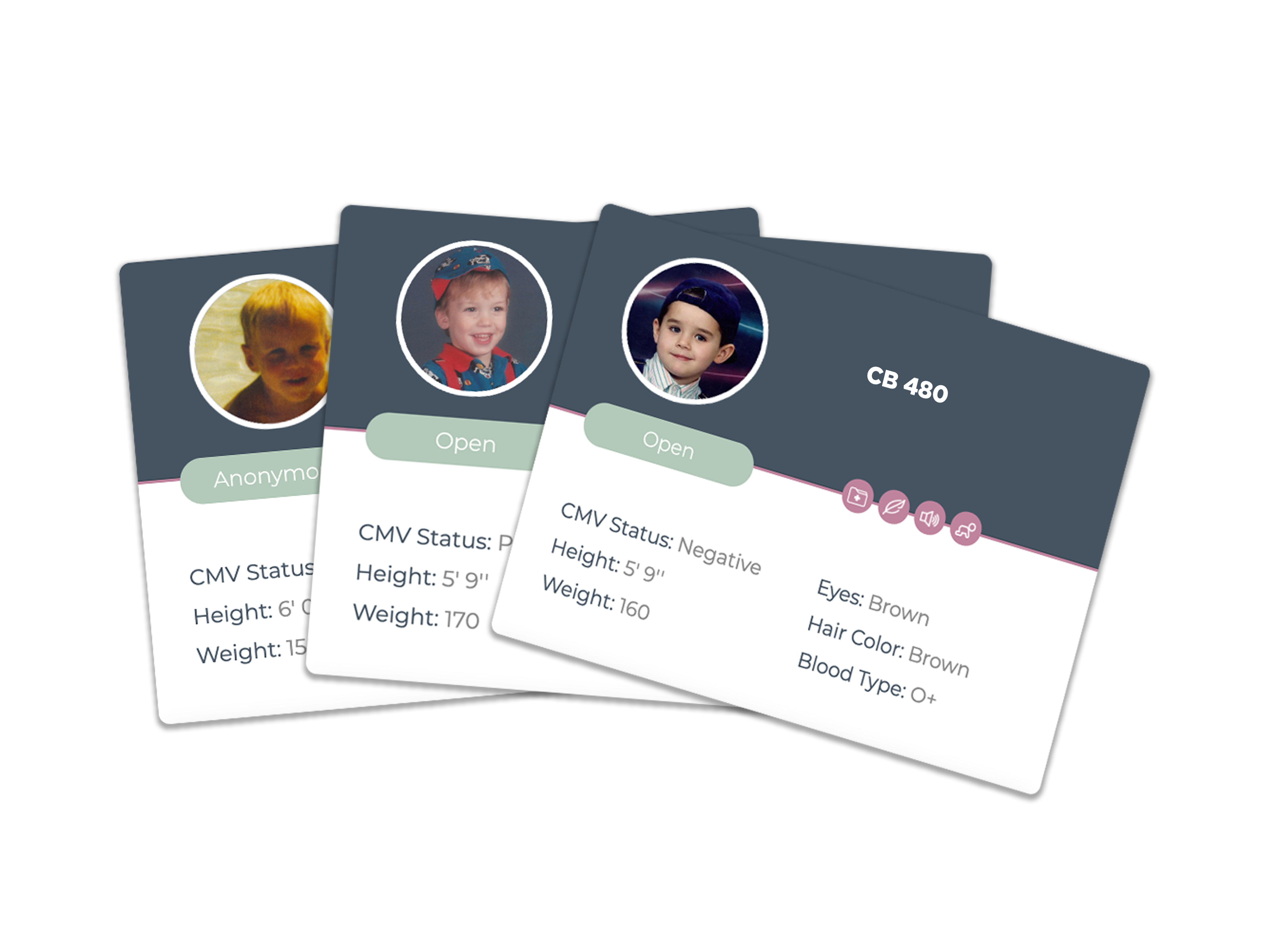 donor cards with descriptions